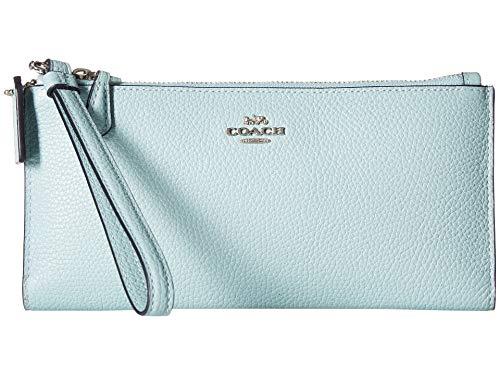 (COACH Women's Double Zip Wallet Sv/Light Turquoise One Size)
