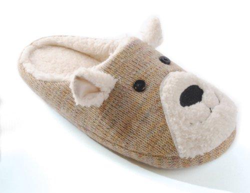 Damen Teddy zwei Fleece Farben in Mule Braun Slippers Face Knitted A1qFw6f