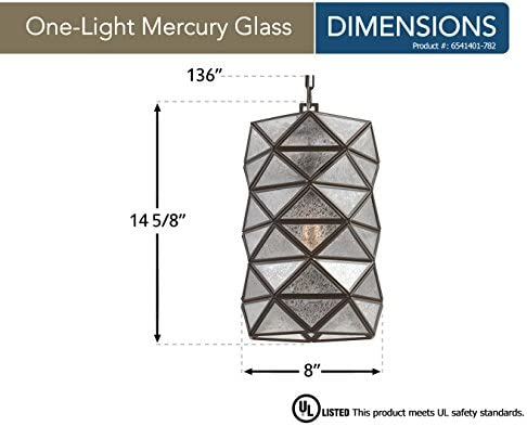 Sea Gull Lighting 6541401-782 Harambee One-Light Pendant with Mercury Glass, Heirloom Bronze Finish