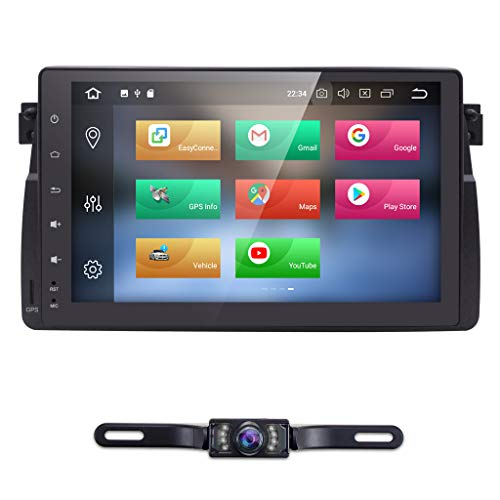 hizpo Android 8.0 9 Inch Single Din Car Stereo Radio GPS Fit for BMW E46 3 Series 1998-2005 Support Multimedia Bluetooth 4.0 WiFi RDS Mirrorlink Steering Wheel Control + Rear View Camera