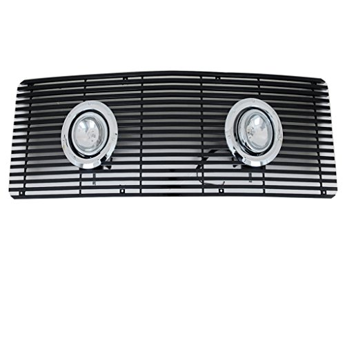 EAG Billet Grille Black Bar With Chrome Lamps and Rings for 88-93 GMC C/K / 92-93 GMC C1500 C2500 K1500 K2500 Suburban