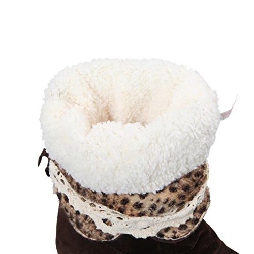 ENMAYER Womens High Heel PU Material Knie High Stiefel Wedges Warm Schuhe für Frauen Winter Stiefel Frauen1 mit Pelz