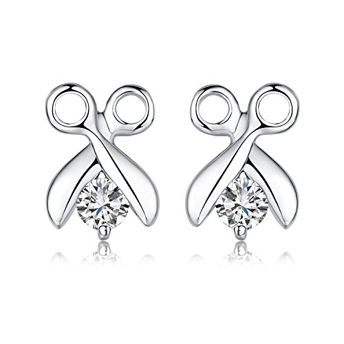Price comparison product image Sterling Silver Girls Cubic-zirconia Stud Earrings (Scissors)