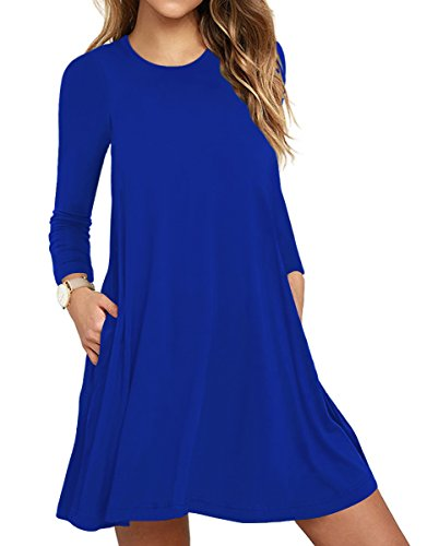 TOPONSKY Women's Plain Long Sleeve Slit Pockets Casual Swing T-shirt Dresses(S, Royal Blue) (Dress Royal Womens Blue)