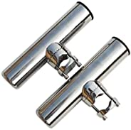 spareflying 2pcs Stainless Clamp on Fishing Rod Holder for Rails