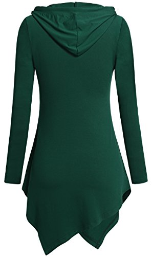 Tencole Long Sleeve Tunics for Woman, V Neck Stretchy Lightweight Flowy Hooded,Green,XX-Large