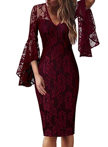 VFSHOW Womens Sexy V Neck Floral Lace Bell Sleeve Cocktail Sheath Dress 1590 RED S