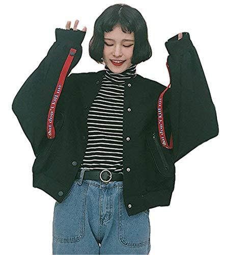Libero Bomber Colori Donna Ragazze Digitale Tempo Giacca Misti Stile Marca Stampate Cappuccio Manica Di Facile Relaxed Giacche Dolce Autunno Mode Lunga College Blau Bolawoo Con Outerwear qaw00U