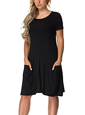 VERABENDI Women's Short Sleeve Dress Casual Loose Pocket T-Shirt Dress