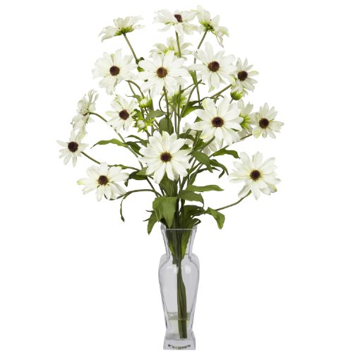 Nearly Natural Cosmos With Vase Silk Flower Arrangement In White 1172-WH