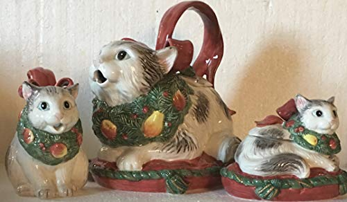 Ceramic Christmas Cat Teapot and Sugar and Creamer Set ()