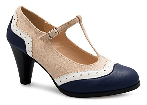 Olivia K Womens Mary Jane Pumps - Low Heels - Two Color Vintage Retro Round Toe Shoe Beige Navy