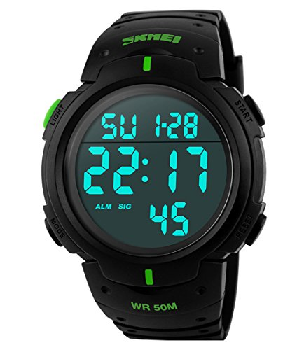 Men's Digital Sports Watch LED Screen Large Face Military Waterproof Casual Luminous Army Watch Black (Date Large Watch)