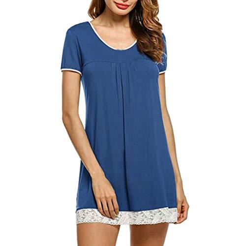 A Corta Shirt Womens Soft Loose Donna Tunica Vestito Sleepwear Pieghe Dress With Eleganti Sleeve Blu Short Comode Pajama Manica Dragon868 Pizzo wO08mnvN