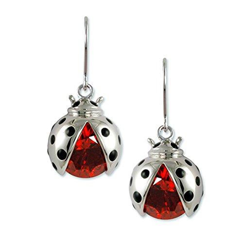 Rhodium Plated fish hook earring with (1) ladybug