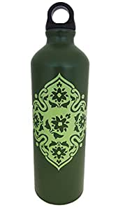 Kitchsmart Aluminum Water Bottle with Plastic Screw Lid Looped on the Top, Army Green, 28oz