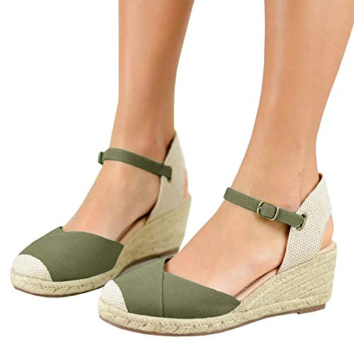 Nailyhome Womens Espadrille Wedges Platform Sandals Closed Toe Ankle Strap Slingback High Heels Sandals
