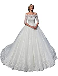 Womens Wedding Dresses Ball Gown Long Sleeves Lace Tulle Off The Shoulder Wedding Dresses Bride 2019