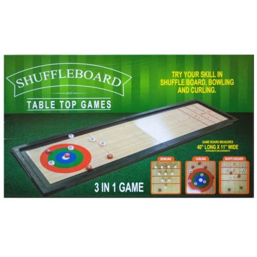 Lucky-gift - 3 in 1 Shuffleboard Tabletop Game - Game Shuffleboard Curling Table Top 1 8 2 Board and Rollers - Bowling Tabletop Family Pucks 3 Fun Games Adults by Lucky-gift
