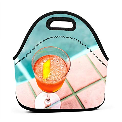 (BHDSFGUQ Clear Stemmed Glass with Orange Beverage Reusable Portable Pocket Container for School Picnic,Working Lunch)