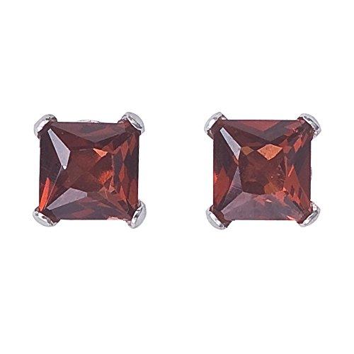 14k White Gold Square Box (14k White Gold Square Garnet Stud Earrings)