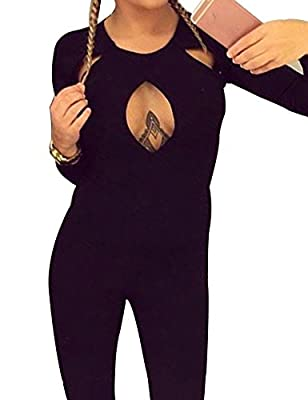 Allegrace Women Sexy Long Sleeve Autumn Warm Stretch Party Jumpsuit Bodycon Romper