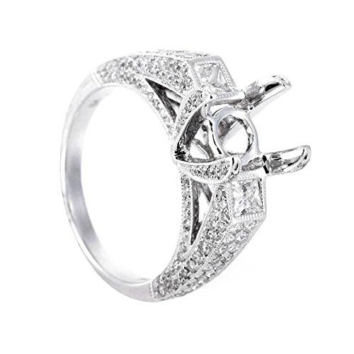 Gold Diamond Mounting (Luxury Bazaar 18K White Gold Diamond Bridal Mounting Ring CRR7910)