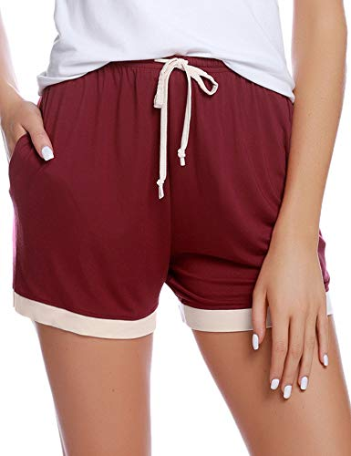 - Aibrou Women's Sleep Shorts Cotton Stretchy Boxer Pajama Bottoms (Wine Red, XX-Large)