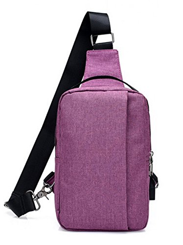 Purple Handbags Women's Canvas BUTBT181297 Cycling Satchel Body Zippers AmoonyFashion Cross zUq4g4