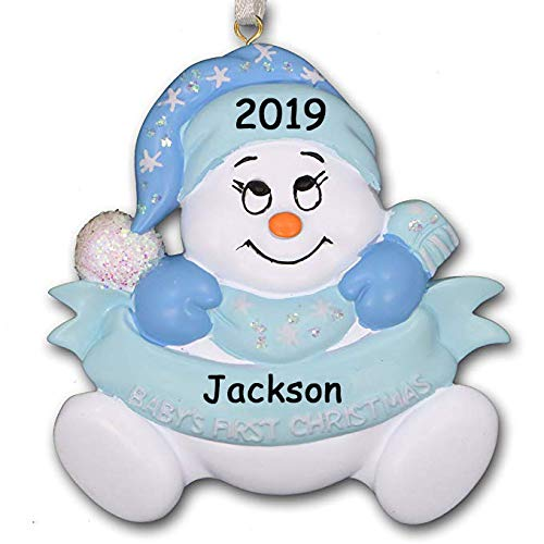 2019 Baby's First 1st Christmas Glitter Snowman with Santa Claus Stocking Hat and Mittens Hanging Christmas Ornament in Blue for Baby Boy with Free Name Personalization (Blue)