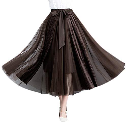 Knee Length Velvet Skirt - YSJERA Lady's Organza Princess Skirt Bowknot A Line Pleated Midi/Knee Length Tutu Party Skirts (M, Velvet Brown)