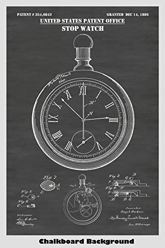 Chronograph Pocket Timepiece - Stopwatch/Chronograph Patent Print Art Poster: Choose From Multiple Size and Background Color Options