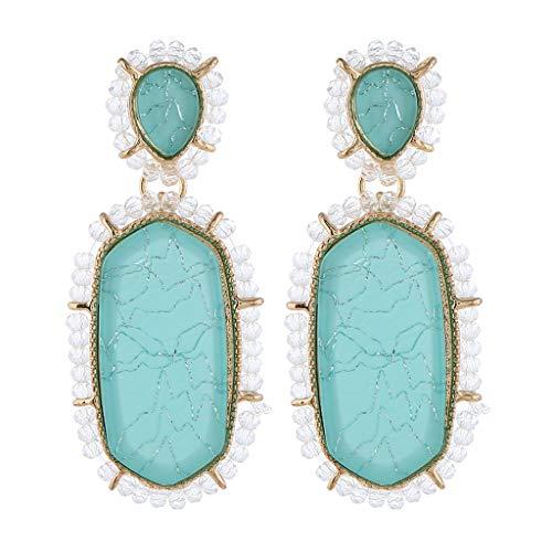 - 2019 New Acrylic Hoop Earrings For Women Girls Statement Geometric Earrings Resin Acetate Drop Dangle Earrings Mottled Hoop Earrings Fashion Jewelry(blue)
