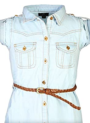 dollhouse Girls Roll Cuff Denim Dress with Braided Belt