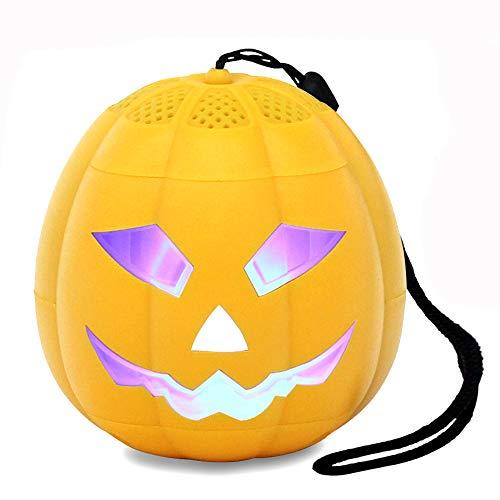 Hezovpr Portable Speaker Wireless Bluetooth Speakers Pumpkin LED Lights Ghosts Sound as, Birthday Gifts Kids Men Women.(Yellow)