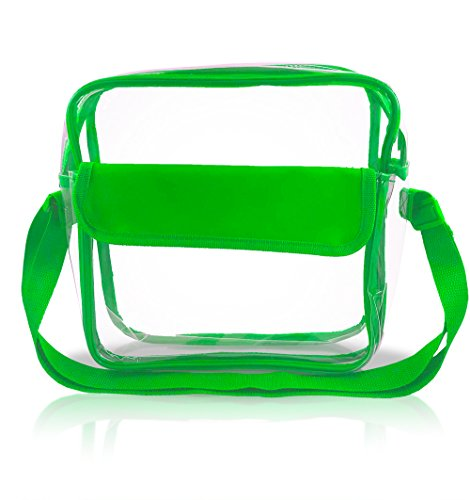Stadium Approved Clear Messenger Bag/Large 10 Inches Cross Shoulder/Event Security Compliant/Transparent (Green)