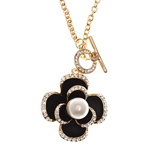 MISASHA Multipurpose Camellia Charms Long Strand Bridal Necklace - Chanel Pearl Necklace