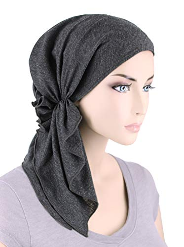 The Bella Scarf Chemo Turban Head Scarves Pre-Tied Bandana for Cancer Charcoal Gray by Turban Plus