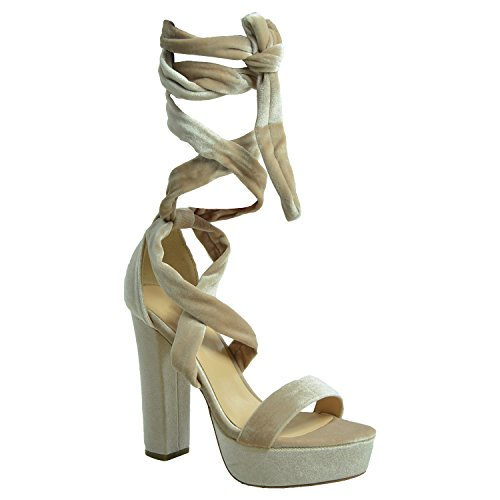 Cucu Fashion Womens Ankle Tie Platforms Ladies Sandals Girls Peep Toe High Block Heels Party Prom Summer 2017 Shoes Size Uk 3-8 Beige