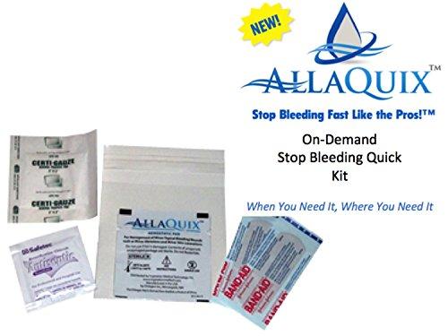 AllaQuix Stop Bleeding Quick Instant Mini First-Aid Kit with AllaQuix Stop Bleeding Pad - Hemostatic Gauze (Blood Clotting Bandage)
