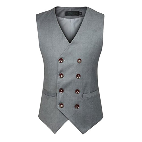 Slim calidad Vest Double alta Fit Zhhlinyuan Mens Sleeveless gris Waistcoat Suit Jacket Breasted 5FXqx8tw