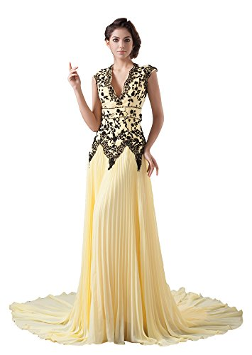 Vogue007 Womens V-neck Chiffon Pongee Formal Dress with Ruffles and Bead, Yellow, 16 by Unknown