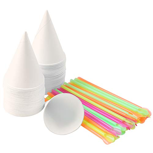 Ruisita 100 Pieces Snow Cone Cups Cone Water Cups Shaved Ice Cups with Snow Cone Spoon Straws for Home or Company 6 Ounce (100)