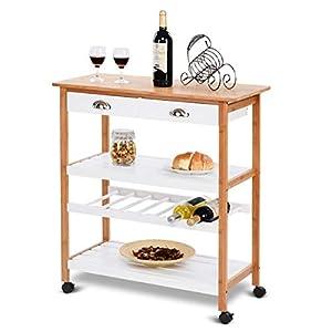 Bamboo Wood Rolling Kitchen Storage Utility Cart Drawers Wheel Shelf Island Trolley Cart Wine Shelf Basket Dining Serving Cabinet Drawer Display Food Bar Towel Rack