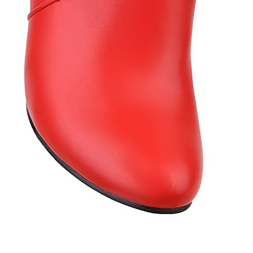 Red Boots High top Toe Closed Round AgooLar Women's High PU Zipper Heels nwCqxPA