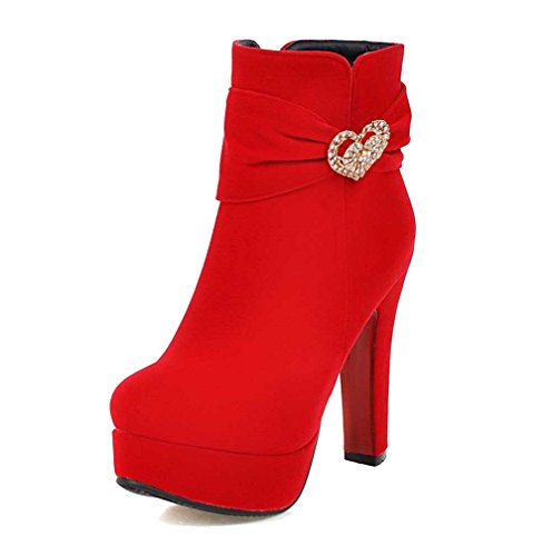 Allhqfashion Women's Zipper Round Closed Toe High-Heels Imitated Suede Low-top Boots Red hYYhcP