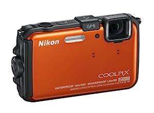 "Nikon Coolpix AW100 - Cámara compacta de 16 Mp (pantalla de 3"", zoom óptico 5x, estabilizador de imagen, GPS) color naranja"