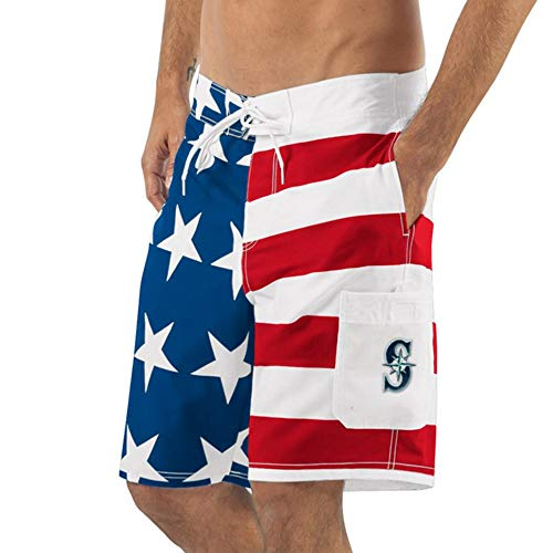(Seattle G-III Sports by Carl Banks Americana Swim Trunks - Red/Blue (Large))