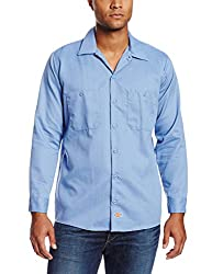Dickies Occupational Workwear LL536LB XLT Polyester/ Cotton Men's Long Sleeve Industrial Patterned Shirt, X-Large Tall, Light Blue