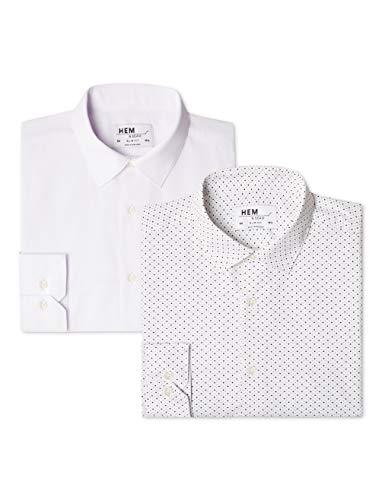 amp; ditsy Camicia Da Fit Print Pacco White Weiß Stampata Uomo 2 Seam Hem Slim HZAPd1d